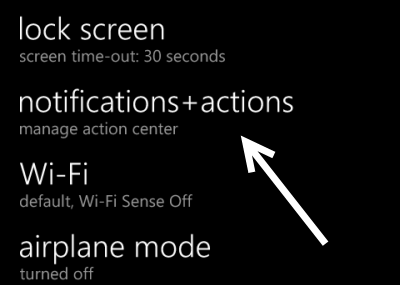 change windows phone 8.1 notifications actions