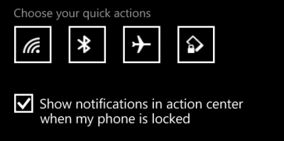 change windows phone 8.1 quick actions