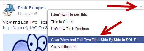 bookmark save Facebook post