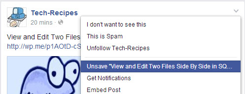 remove unsave facebook posts