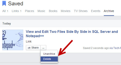 remove posts from Facebook save