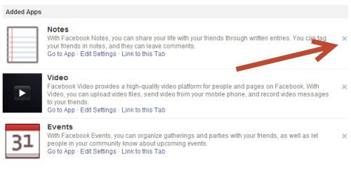remove facebook page tabs