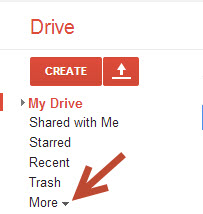 Google Drive more options