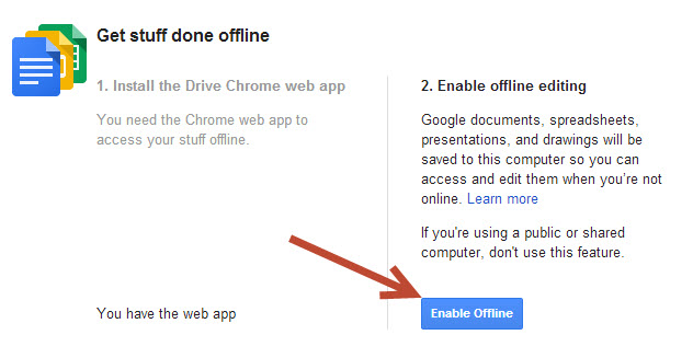 Enable offline editing Google Drive