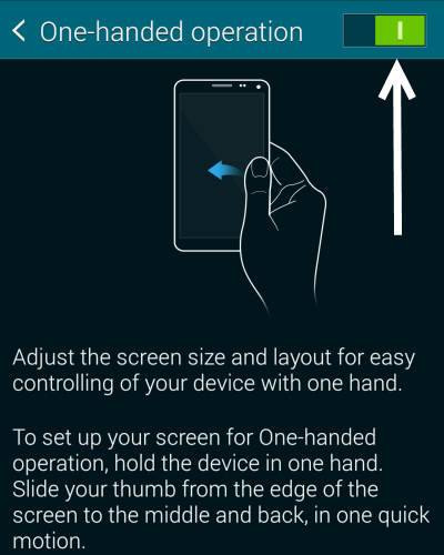turn on one handed operation note 3 galaxy s5