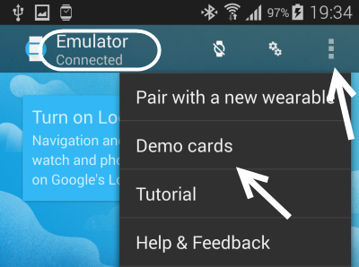 connect android wear emulator to phone