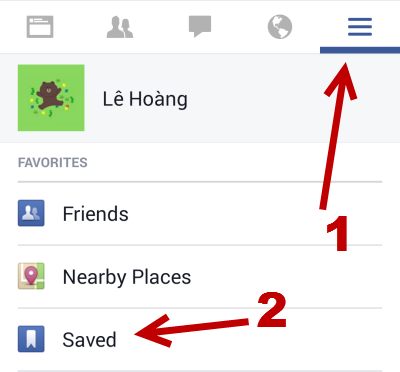 Facebook Saved section on mobile