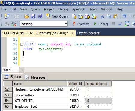 Is_ms_shipped property in sql server