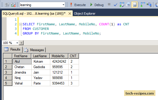 Finding Duplicates Records Using Group by in SQL Server (4)