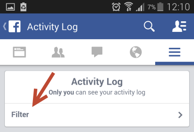 Facebook activity log filter