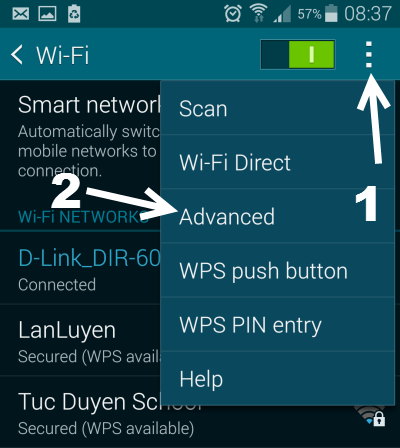 Android Advanced Wifi Settings