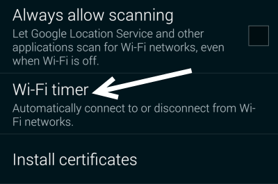 Galaxy S5 WiFi Timer