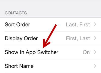 iOS Hide recent contacts from app switcher