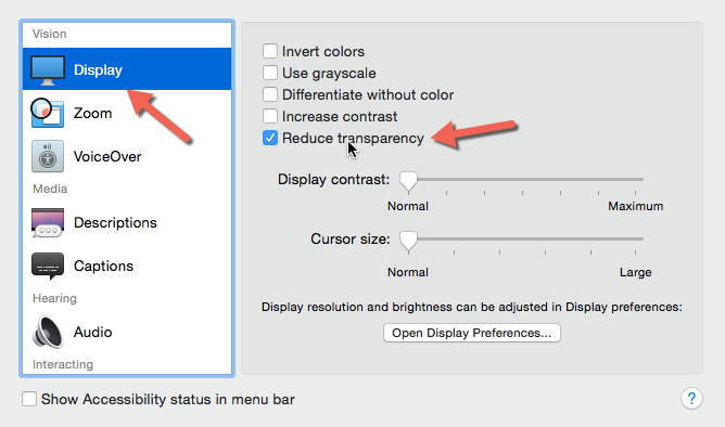 OS X Yosemite reduce transparency