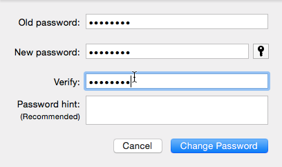 OS X change password