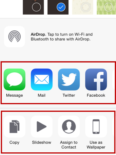 iOS Share apps actions