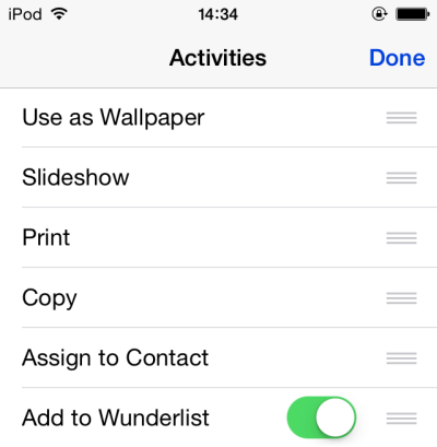 iOS edit share activities