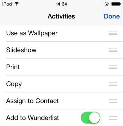 iOS edit share activities