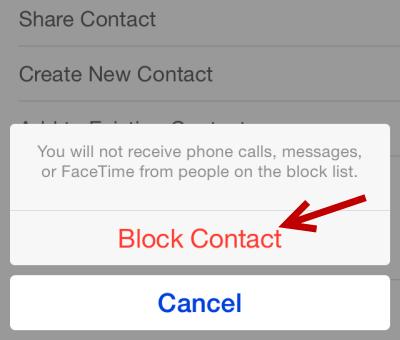 iOS block contact