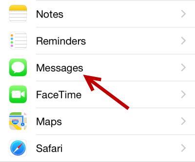 iOS messages settings