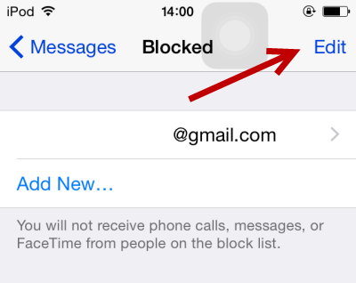 iOS remove contact from block list