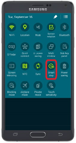 Smart Stay enable on Quick Panel on Note 4