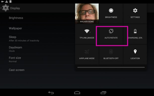 turn off auto rotate Android