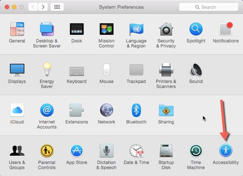 OS X accessibility setting