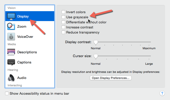 OS X grayscale option