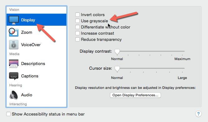 OS X grayscale option