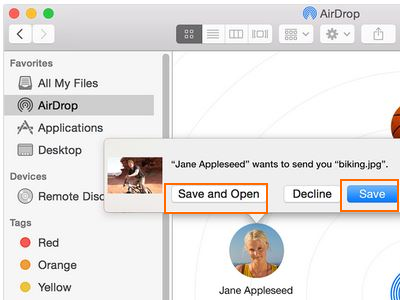 save received file on Mac