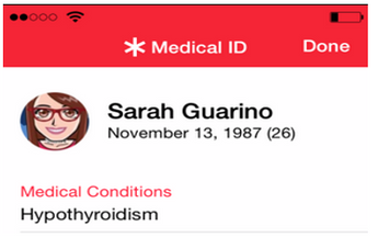 Your medical ID displayed.