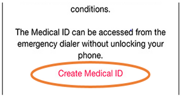 Create Medical ID button on iPhone 6