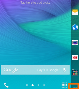 Arrow icon on Edge screen