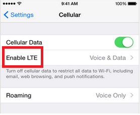 Enable LTE on iPhone 6