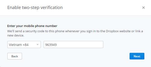 Dropbox verification