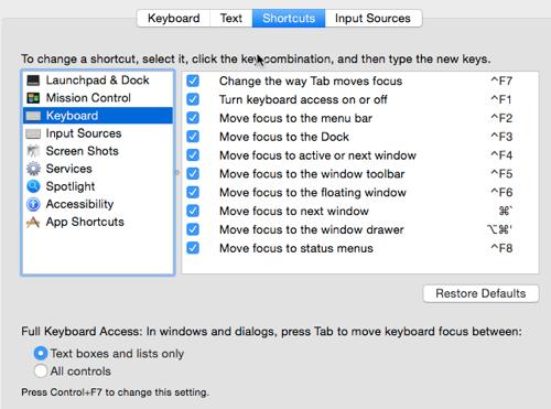 Change OSX keyboard shortcuts
