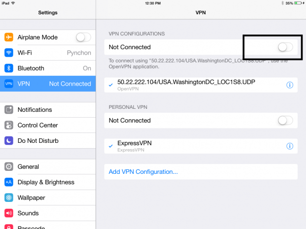 how to configure VPN for iPad