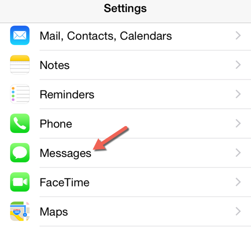 iOS iMessages settings