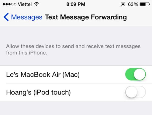 iOS text message forwarding