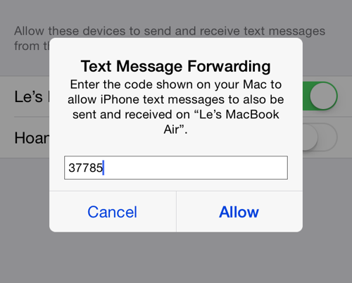 set up text message forwarding