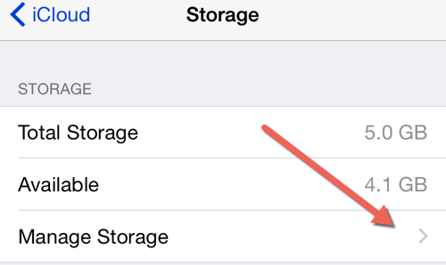 iCloud Manage Storage