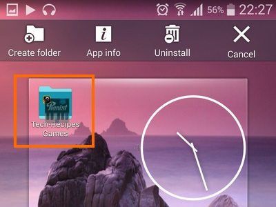 choosen app icon floats on new folder