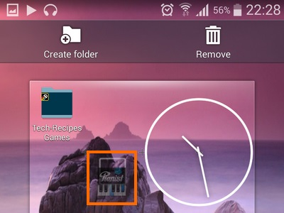 dragged icon floats on home screen