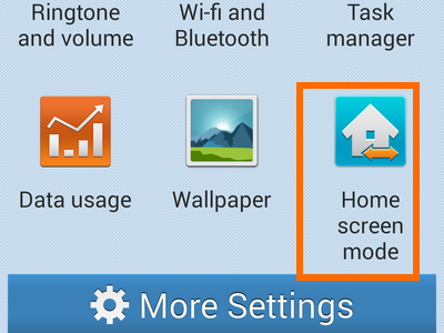 enable easy mode -choose home screen mode