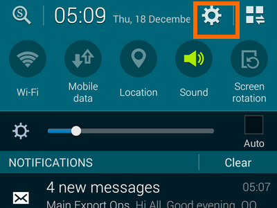 enable easy mode -settings on notifications