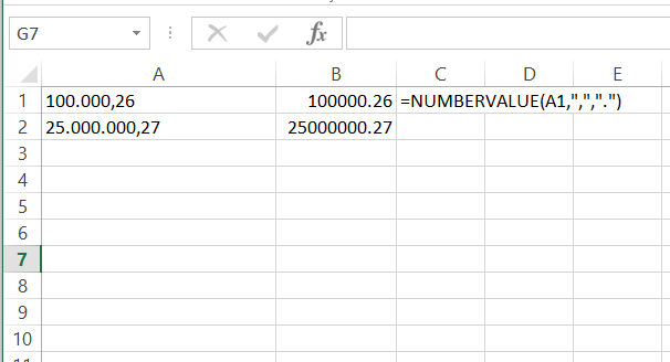excel convert latin to english format