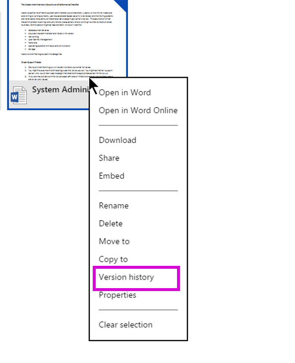 recover old version onedrive microsoft word