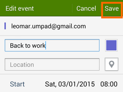 the save button on edited task or event