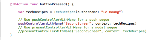 using pushControllerWithName and presentControllerWithName